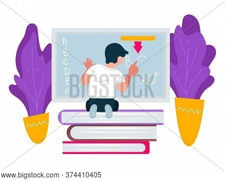 Preschooler Pupil Writing On Blackboard, Education And Knowledge Obtaining