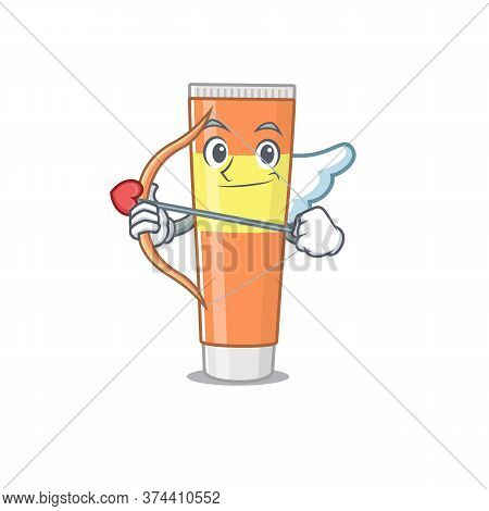 A Lovable Toothpaste As A Romantic Cupid Cartoon Picture With Arrow