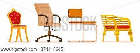 Chair Set. Collection Of Chair For Office, Dining And Dining Room, Outdoor Terrace Or Garden Design