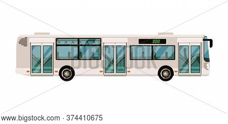 Commuter Bus. Express Bus Isolate On White Background. City Shuttle Van Vector Illustration. Commute