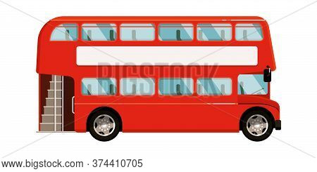 Double-decker Bus. Red London Double-decker Bus Icon Isolated On White Background. Vector Tourist Co