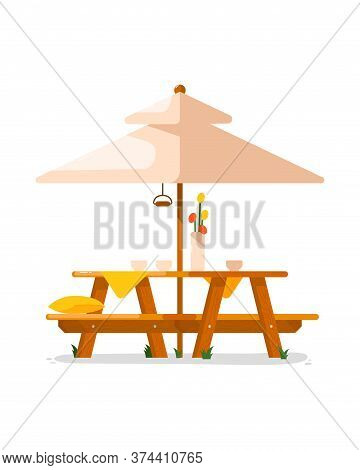 Garden Table. Isolated Outside Wooden Table With Seats And Parasol Icon. Vector Garden, Cafe Or Back