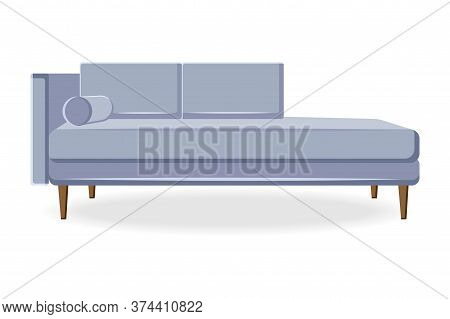 Divan Icon. Isolated Comfortable Couch Seat Icon. Elegant Style Living Room Divan Sofa Front View. V