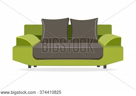 Couch With Pillows. Isolated Comfortable Couch Seat Icon. Modern Style Living Room Sofa With Pillows