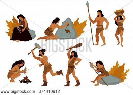 Tribal People, Gatherers And Hunters, Prehistoric Civilizations Vector
