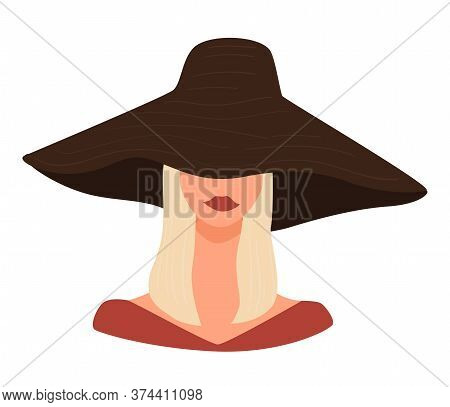 Stylish Blond Lady Wearing Hat With Wide Brims