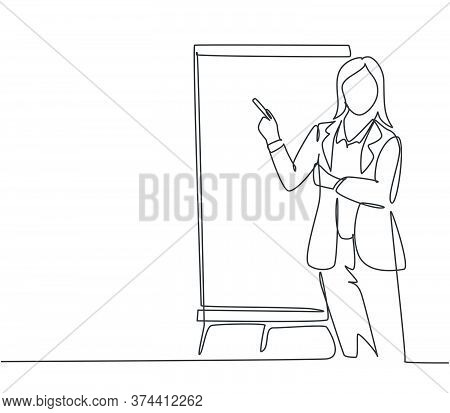One Single Line Drawing Of Young Female Presenter Thinking While Doing Presentation At The Office Du