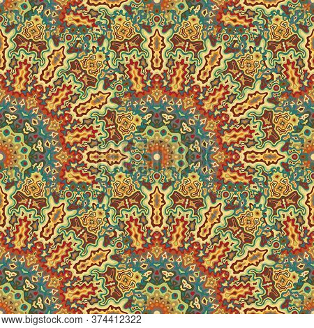 Mandala Floral Seamless Pattern. Oriental Ethnic Vector Composition. Weave Modern Chakra Flower Seam