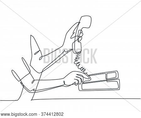 One Single Line Drawing Of Gesture Hand Picking Handle Retro Classic Analog Phone Up. Old Vintage An