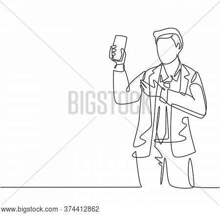 One Continuous Line Drawing Of Young Salesman Promote And Introduce New Smartphone Device Series To