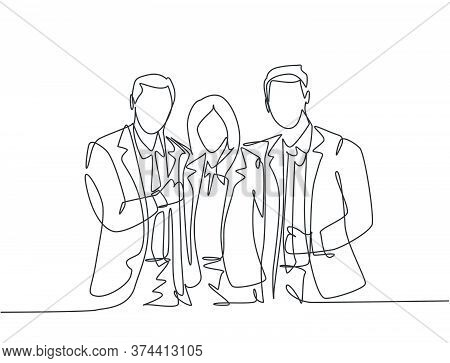 One Continuous Line Drawing Of Young Happy Male And Female Manager Standing Together And Hugging Eac