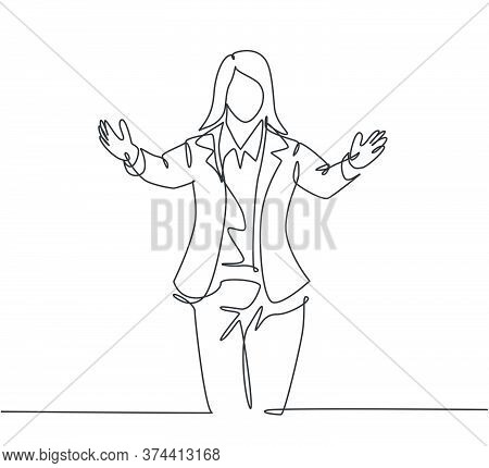 Single Continuous Line Drawing Of Young Happy Female Business Worker Give Supporting Hug Gesture To