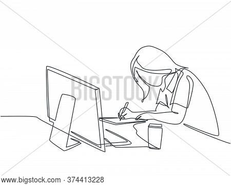 One Single Line Drawing Of Young Pensive Female Employee Works Overtime To Finish Writing Company Dr