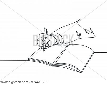 Single Continuous Line Drawing Of Hand Gesture Writing On An Open Note Book To Write Business Draft.