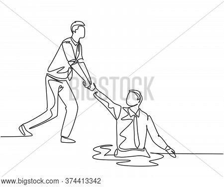 One Single Line Drawing Of Young Energetic Businessman Helps Pull His Colleague Who Falls Into The H