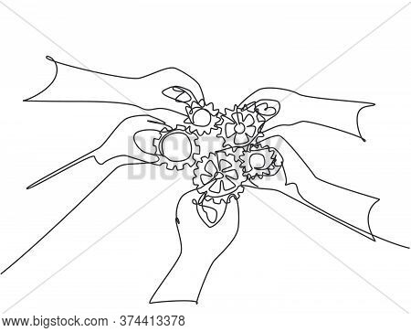 Single Continuous Line Drawing Of Hand Gesture Male And Female Business Team Members Unite Piece Of