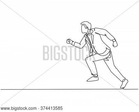 Single Continuous Single Line Drawing Of Young Energetic Businessman Sprint Running In Street Road T