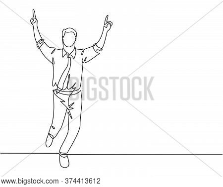 One Continuous Single Line Drawing Of Young Happy Businessman Pointing His Finger To The Air After R