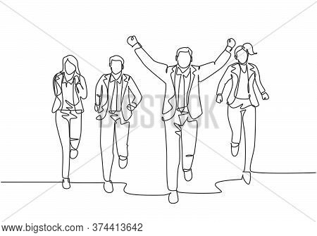 One Continuous Single Line Drawing Of Young Happy Male Manager Rise Fist To The Air After Winning Cr
