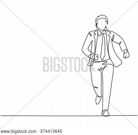 One Continuous Single Line Drawing Of Young Male Manager Join Run Competition On Running Track To Re