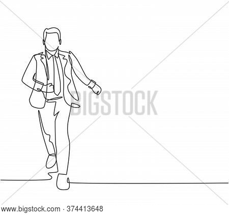 One Single Line Drawing Of Businessmen Wearing Suit Doing Sprint Race At Running Track To Win Compet