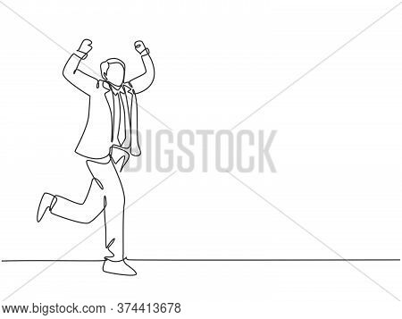 One Continuous Single Line Drawing Of Young Happy Businessman Fist His Hand To The Air After Running