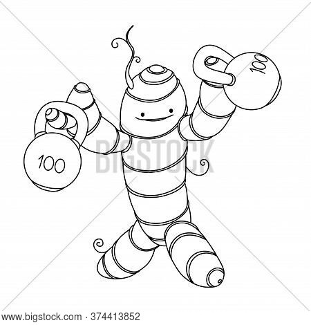 Cute Strong Turmeric Root With Kettlebells, Funny Character, Cooking Spice, Healthy Food Concept, Ve
