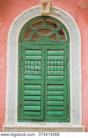 Vintage Arched Shutters, Two Panel Rustic Mediterranean Shutter. Old Wooden Vintage Louver Window. B