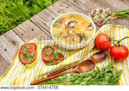 Potato Soup With Mushrooms And Croutons And Vegetarian Sandwiches. Delicious Vegetarian Al Fresco Lu