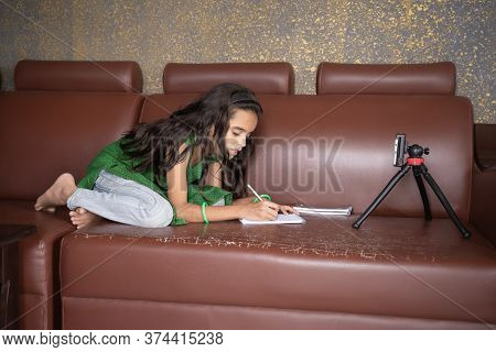 Concept Of Improper, Lazy And Way Of Studying During Homeschooling Or E-learning And Make Kids Sleep