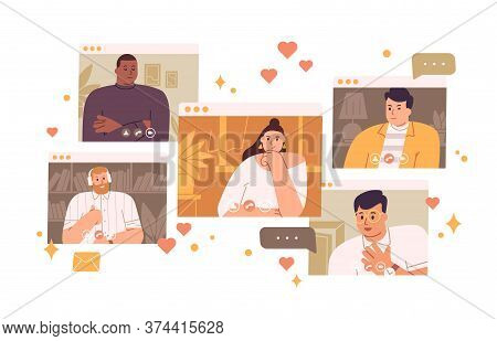 Pensive Single Woman Looking Man At Virtual Dating Vector Flat Illustration. Female Searching Love C