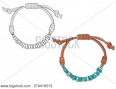 Handmade Jewelry In Ethnic Style: Turquoise Bracelet On A Leather Strap. Vector Illustration Isolate