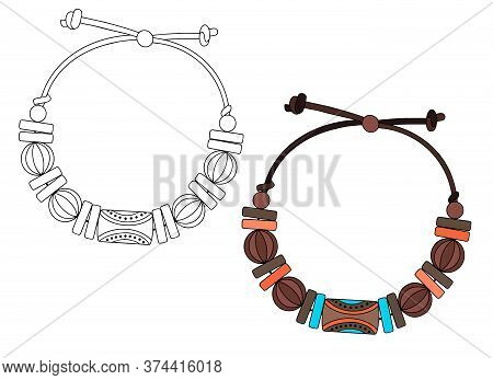 Handmade Jewelry In Ethnic Style: A Bracelet With Wooden Beads On A String. Vector Illustration Isol