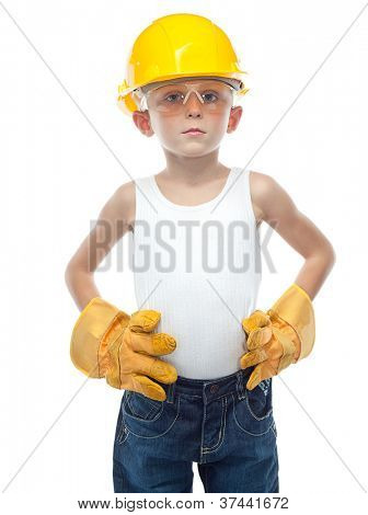 cute boy  in eyellow  helmet on white background
