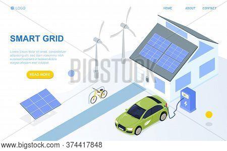 Smart Grid Isometric Design Concept. Smart Detached House, Renewable Energy, Solar Panels, Windmills