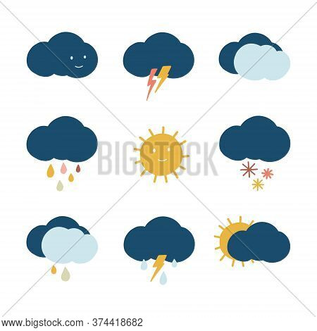 Hand Drawn Weather Icons. Climate Symbol Bundle For Meteorology. Cartoon Weather Icons Set With Sun,