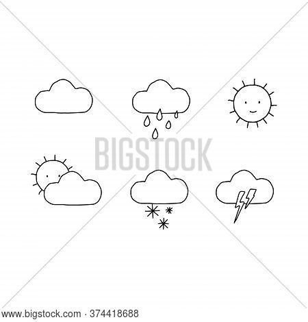 Hand Drawn Linear Weather Icons. Weather Icons Set With Sun, Rain, Snow And Storm Icons. Forecast Mo
