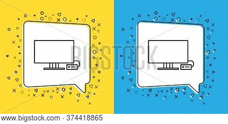 Set Line Smart Tv Icon Isolated On Yellow And Blue Background. Television Sign. Vector Illustration