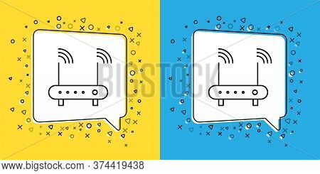 Set Line Router And Wi-fi Signal Symbol Icon Isolated On Yellow And Blue Background. Wireless Ethern