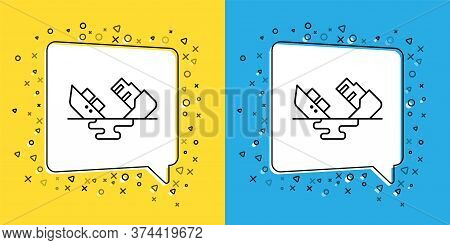 Set Line Wrecked Oil Tanker Ship Icon Isolated On Yellow And Blue Background. Oil Spill Accident. Cr
