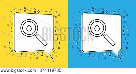 Set Line Oil Drop Icon Isolated On Yellow And Blue Background. Geological Exploration, Geology Resea