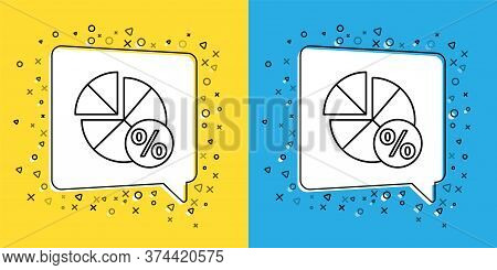 Set Line Math System Of Equation Solution On Speech Bubble Icon Isolated On Yellow And Blue Backgrou
