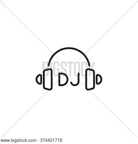 Thin Line Vector Headphone Icon. Earphones On White Background. Dj Symbol.