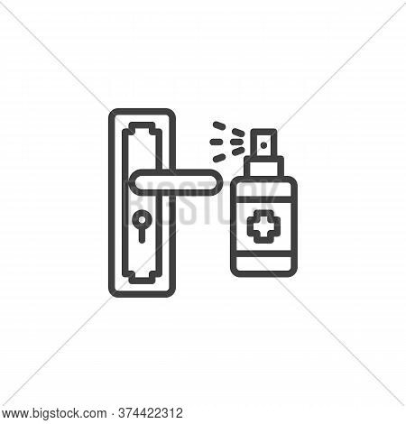 Disinfect Door Handle Line Icon. Linear Style Sign For Mobile Concept And Web Design. Door Handle An