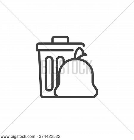 Trash Bag And Garbage Bin Line Icon. Linear Style Sign For Mobile Concept And Web Design. Recycle Bi