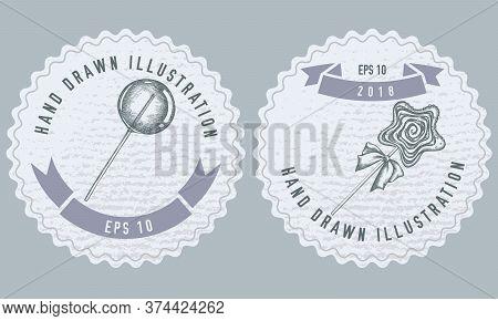 Monochrome Labels Design With Illustration Of Lollipop, Lollipop Stock Illustration
