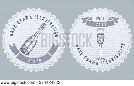 Monochrome Labels Design With Illustration Of Champagne, Glass Of Champagne Stock Illustration