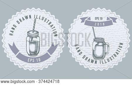 Monochrome Labels Design With Illustration Of Smothie Jars Stock Illustration