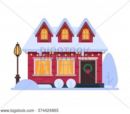 Snowy Suburban House, Cute Rural Winter Cottage, Timbered Cabin Vector Illustration