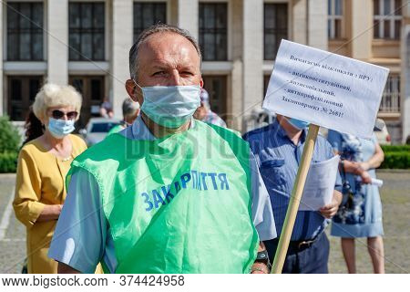 Uzhgorod, Western Ukraine - June 30, 2020: Union Workers In Protective Masks Are Protesting Against